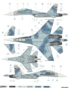 Here is the Sukhoi Su-27UB Flanker C Russian AF Camouflage Color Profile and Paint Guide.