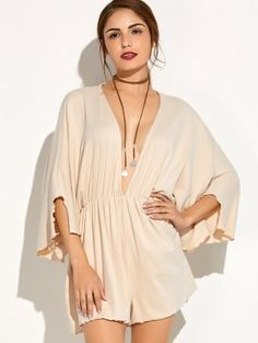 Plunging Neck Batwing Sleeve Romper - Beige M Cute Rompers, Fashion Seasons, Sammy Dress, Watches, Womens Fashion Online, Batwing Sleeve, Jumpsuits For Women, Trendy Fashion, Summer Outfits
