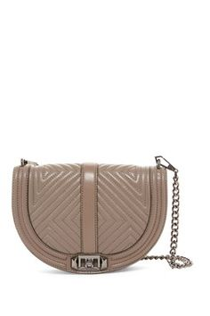 Geo Quilted Love Leather Saddle Crossbody Bag