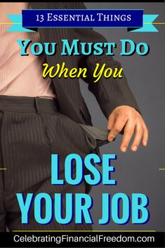Ever lose your job and totally wasn't prepared for it? Here are 13 essential things you must do when you lose your job. They'll keep you from going bankrupt and help you find the career you've always wanted! Click the Pic to get all the tips! Ways To Save Money, Money Tips, Money Saving Tips, Managing Money, Money Hacks, Lost Job, Frugal Tips, Career Advice, Finance Tips