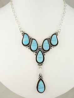 Turquoise Inlay Necklace & Earring Set by F. Lowsayate, Zuni for $415.00 | Native American Jewelry