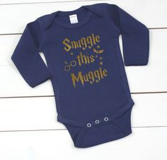 This onesie is a great gift for Harry Potter lovers expecting a little one! The onesies are so soft and make snuggling so much cozier! ♥ PRODUCT DESCRIPTION ♥  > Onesie Colors: white, black, navy, heather gray, mint, pink, or light pink  > If you would like the design on a t-shirt instead of a onesie, please message me for the size and color options.  > While the design is shown in gold on a navy onesie, you may personalize it to your color preferences. See the listing pictures for the…