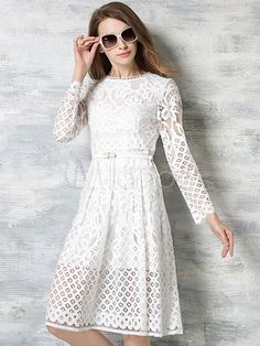 Vestido plisado de encaje con escote ovalado y pliegues - Milanoo.com …