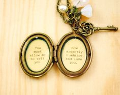 Jane Austen Necklace Women's Locket Mr. por busybeezchickadeez