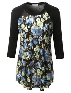 LE3NO Womens Plus Size Floral Print Round Neck 3/4 Sleeve Baseball T Shirt