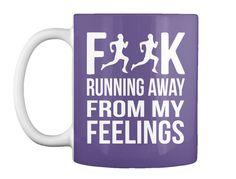 Running Away From My Feelings Purple Mug Front
