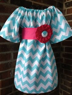 Peasant Dress - Girl, Toddler Girl, Baby Girl - Available in size 12M thru 4T - Riley Blake Chevron on Etsy, $32.00