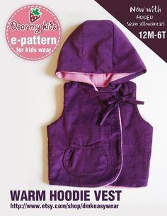 Warm Hoodie Vest PDF Pattern by dmkeasywear on Etsy