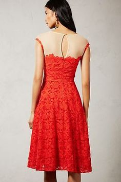 Anthropologie Gorgeous Red Lace Embroidered Roseland Dress - Mirror of Venus NWT