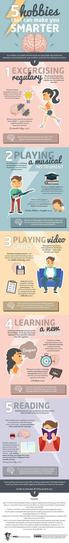 5 Hobbies That Will Make You Smarter Starting any new hobby will have positive benefits in some way. Today's infographic focuses on five of the most common hobbies, but almost anything will get your brain moving. Self Development, Personal Development, Hata Yoga, Pseudo Science, Improve Yourself, Make It Yourself, School Looks, Fun Hobbies, Brain Health