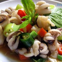 fried squid with holy basil and chilli