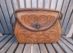 Vintage Leather Tooled Purse Western Handbag