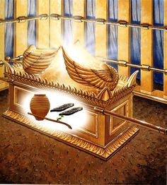 Hebrews 9:3 Behind the second curtain was a second section[c] called the Most Holy Place, 4 having the golden altar of incense and the ark of the covenant covered on all sides with gold, in which was a golden urn holding the manna, and Aaron's staff that budded, and the tablets of the covenant. 5 Above it were the cherubim of glory overshadowing the mercy seat. Of these things we cannot now speak in detail.