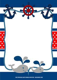 Christening Invitations Boy, Nautical Birthday Invitations, Baby Shower Invitation Templates, Baby Shower Printables, Invitation Cards, Baby Shower Favors, Baby Shower Themes, Shower Party, Baby Shower Parties