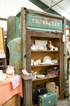 Shelf unit made from old Chevy truck bed - Funky Junk Antique Show's space at The Farm Chicks Show Car Part Furniture, Automotive Furniture, Automotive Decor, Garage Furniture, Dresser Furniture, Furniture Plans, Table Furniture, Kids Furniture, Funky Junk
