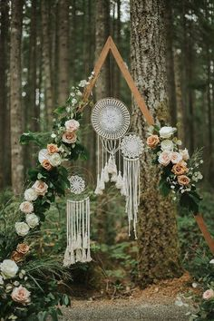 Free Spirited Copper and Jade Washington Forest Wedding at Gold Mountain Golf Club This dreamy a-frame ceremony backdrop features dreamcatchers + romantic blooms Wedding Aisles, Wedding Ceremony Backdrop, Wedding Backdrops, Wedding Events, Wedding Reception, Arch Wedding, Wedding Table, Wedding Flowers, Boho Wedding Decorations