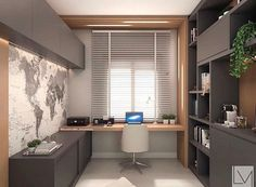 Modern grey home office with light wood accents. Simple and modern home office design using grey cabinetry and light wood accents. Mesa Home Office, Home Office Setup, Home Office Space, Home Office Desks, Office Ideas, Workspace Desk, Office Interior Design, Office Interiors, Office Designs