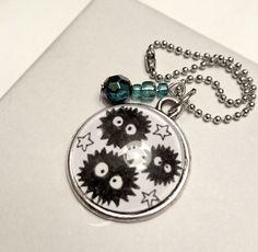 Soothsprites keychain (Spirited away - Studio Ghibli) with beadscharm door LaurenInkDots op Etsy