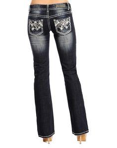 Rock & Roll Cowgirl Women's Low Rise Boot Cut Jeans W0-2441
