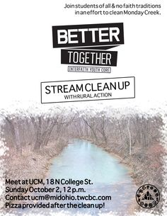 Because our issue of focus is water security, we decided to hold a stream clean-up at our local Monday Creek. After a long day of engaging and acting to clean the stream, we gathered at UCM for pizza and reflection.