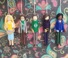 Penny,Leonard,Sheldon,Howard and Raj...    They each measure 4 3/4 inches tall    Thank you for looking