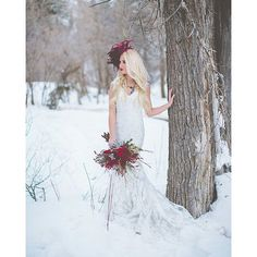 We interrupt your summer for a little inspiration for you #winterwedding brides...can we just say WOW. @kealajphoto rocked the socks off this winter inspiration shoot featuring our Lourdes dress, Allure Style #9068. And can we just talk about those floral