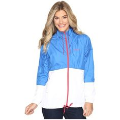 Columbia Flash Forward Windbreaker (Stormy Blue/White/Red Camellia)... ($40) ❤ liked on Polyvore featuring activewear, activewear jackets, columbia sportswear, columbia activewear and columbia