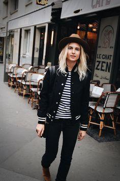 Saint Laurent teddy jacket, Comme des Garcons striped top & Zadig & Voltair hat. Via Mija