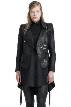 Your new favorite black leather jacket, SKINGRAFT's Draped Motorcycle Jacket is crafted from lightweight supple sheepskin, bringing an all season wearability to this classic biker jacket silhouette. —