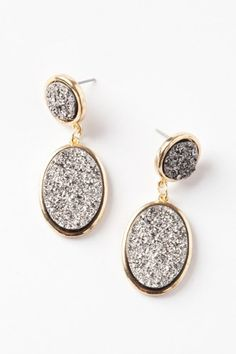 Double Oval Druzy Earrings by Lori\ Druzy Jewelry, Jewelry Box, Jewelry Accessories, Fashion Accessories, Cheap Gifts, Easy Gifts, All Weather Boots, Mothers Day Presents, Shopping Hacks