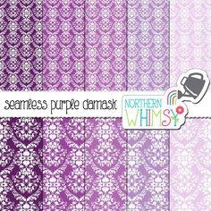Purple Damask Digital Paper Pack – purple and lavender damask seamless patterns - printable purple damask paper – commercial use OK