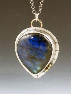 Labradorite Necklace layering necklace blue by MicheleGradyDesigns
