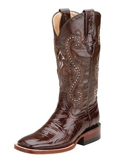 Ferrini Women's Print Alligator S-Toe Western Boot,Chocolate,9.5 B US... Ferrini boots are handcrafted with superb attention to detail These Ferrini cowgirl boots feature a chocolate belly alligator print leather shaft under a chocolate, fancy stitched 12″ leather shaft. Belly alligator print leather overlays on pull straps. Leather lining. Low block roper......http://bit.ly/2rl9597