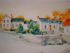 peindre votre maison ou votre village, tableau de votre maison a l aquarelle ou ... #Art #Artiste