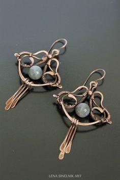 Wire wrap earrings copper earrings labradorite by LenaSinelnikArt #WireWrapJewelry