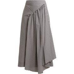 Simone Rocha Pleat-front gingham cotton midi skirt