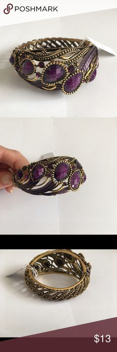Fashion Crystal Bracelet Fashion bracelet with purple crystals & vintage touch. Magnetic hinge closure. Jewelry Bracelets