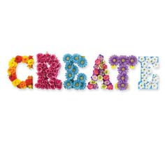 Use foam brushes to paint letters in the colors of your choice. Paint two coats, allowing time to dry in between.    Cut the stems off the flower heads as short as possible. If the flowers start to fall apart, hot glue the layers back together.    Hot glue the flowers onto the letters.