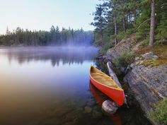 Canoe on Pinetree Lake, Algonquin Provincial Park, Ontario, Canada