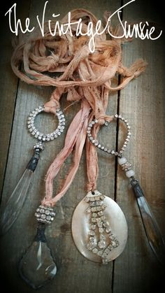 Repurpsed Sari Silk Ribbon...Vintage spoon and sparkle...Shabby Chic necklaces...The Vintage Junkie Shop by Amy Calandra
