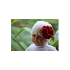Handknit Baby Cap With Crocheted Rose By Shellys #babyboutique #headband #hairaccessorie