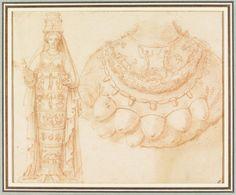 Drawing, Studies of two statues of Diana of Ephesus, Artist unknown. Ephesus, Artemis, Deities, Archaeology, Diana, Vintage World Maps, History, Drawings, Statues