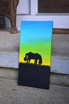 Gradient Silhouette Grazing Horse Painting by RoseCreekStudios, $27.00