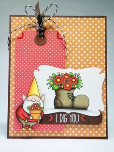 My Favorite Things Gnome - handmade card - Red, yellow with plant in shoe