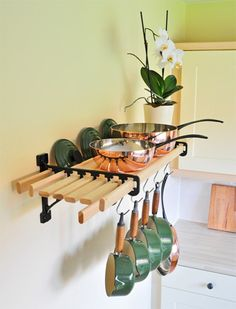 reconsidering my stance on pot racks - I could really use the extra cabinet space....may be a near future DIY project!