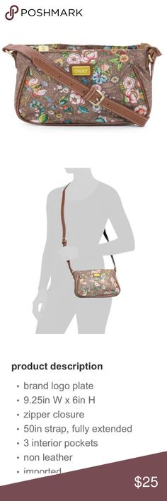 """NWT Oilily floral cross body bag in tobacco Floral print with 50"""" adjustable strap which is new and sealed! Oilily Bags Crossbody Bags"""