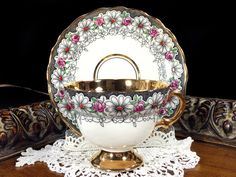 Rosina Daisy Chintz Teacup and Saucer, Gold Banded Floral Tea Cup Made in England J-1753