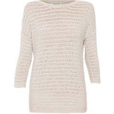 Kinross Silver Sand Melange Textured Boatneck Cotton Sweater ($205) ❤ liked on Polyvore featuring tops, sweaters, beige, pullover sweater, silver sweater, sweater pullover, round top and beige sweater
