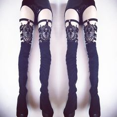 VAGABOND - RESTOCK SOON! Lace Cameo Thigh Garters  *hand made to your size specifications