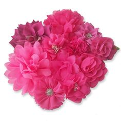 HOT PINK Fabric CRAFT FLOWERS DIY GlueSew On Embellishment Applique Garment Hair